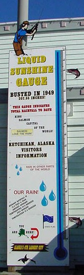 The famous Ketchikan Liquid Sunshine Gauge outside of the Ketchikan Visitor Information Center