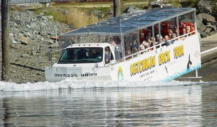 The Ketchikan Duck Tour driving into the water