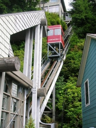The Cape Fox Lodge Funicular in Ketchikan Alaska