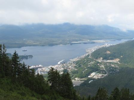 Looking down at the City of Ketchikan and the Cruise Ships in town from the Deer Mountain Trail in Ketchikan