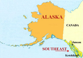 Map of Ketchikan Alaska and Southeast Alaska