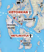 The surrounding islands of Ketchikan Alaska map