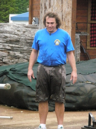 Michael at the Ketchikan Lumberjack Show after falling in!