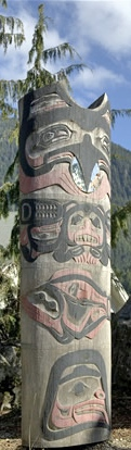 Native American Totem Pole in Ketchikan Alaska