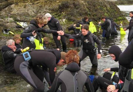 Getting into the water at Snorkel Alaska Cruise Excursions in Ketchikan Alaska