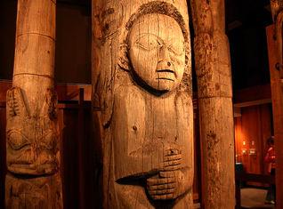 Totem Poles inside The Totem Heritage Center in Ketchikan Alaska