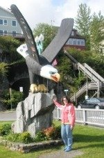 One Alaska Native Art piece, the Thundering Wings Native American totem pole in Ketchikan Alaska