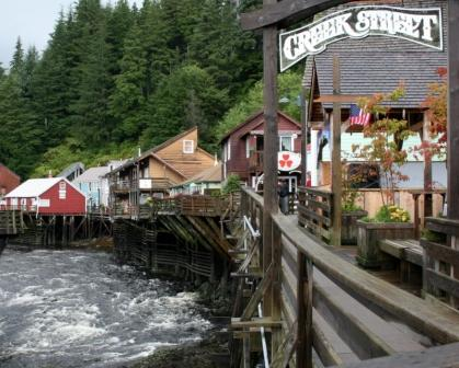 A view of Creek Street in Ketchikan Alaska