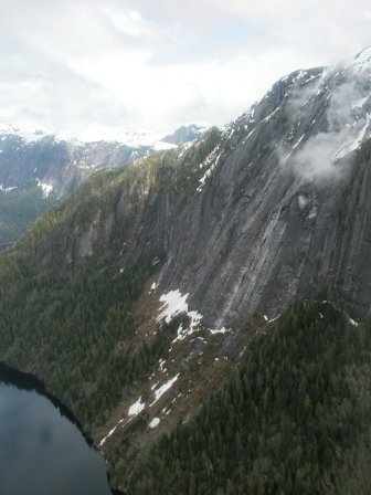 Sheer cliffs in the Misty Fjords National Monument on our float plane tour in Ketchikan Alaska