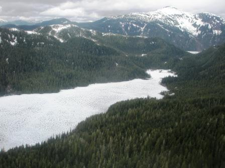 Frozen lakes in the Misty Fjords during our flightseeing excursion