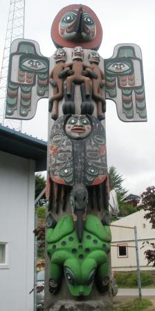 The Sun Raven Native American totem pole in Ketchikan Alaska
