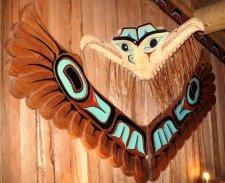 The Thunderbird carving inside Potlatch Park, a favorite Ketchikan Totem Pole Park, has gorgeous Native American Totem Poles