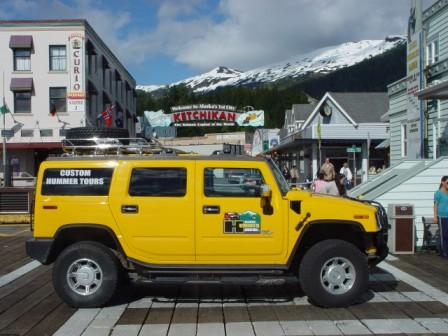 Alaska Hummer Adventures' Yellow Hummer in Downtown Ketchikan