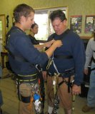 Getting geared up for our Zipline Tours in Ketchikan Alaska