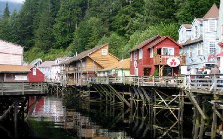 A view of Creek Street in Ketchikan Alaska