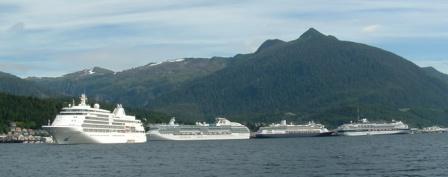 Four Cruise Ships in Ketchikan Alaska