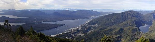 View of Ketchikan & the surrounding islands from the summit of the Deer Mountain trail in Ketchikan Alaska