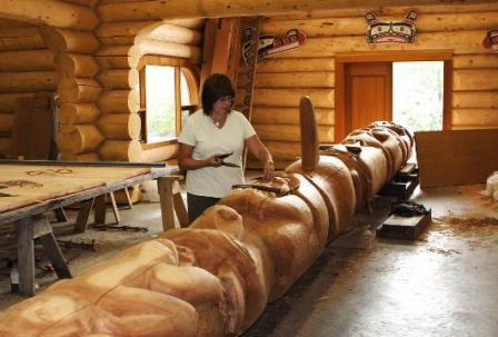 Brita Alendar at Potlatch Park is carver of Native American Totem Poles