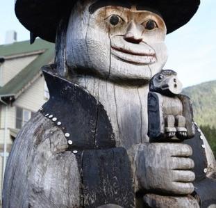 The Naa Kaani Native American Totem Pole at Cape Fox Lodge in Ketchikan Alaska
