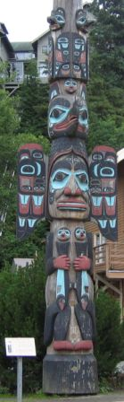 The Chief Johnson native american totem pole in downtown Ketchikan Alaska