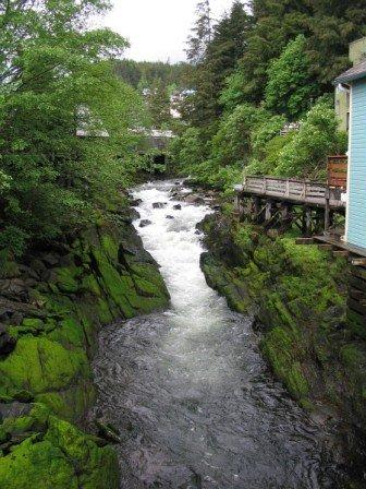 A view of Ketchikan Creek in Ketchikan Alaska