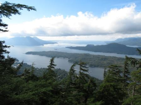 The view at the overlook on the Deer Mountain Trail in Ketchikan Alaska