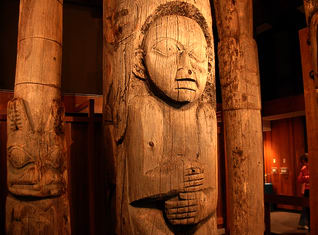 Standing Totem Poles inside the Totem Heritage Center