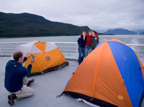 Camping on the deck of the Alaska State Ferry